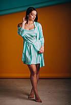Голубая ночная сорочка с халатом (комплект) из шелка, фото 3