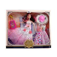 Кукла с нарядом, шарнирная, платья, шляпа, чемодан, микс видов, 521D-2