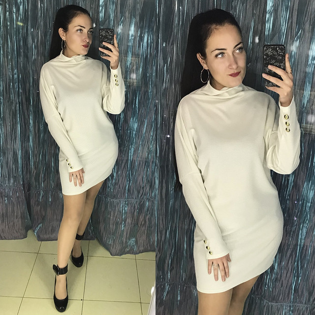 Платье женское мини под горло