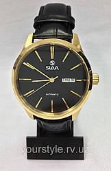 Часы Slava механика ремешок кожаный черный/золото