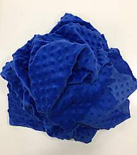 Ткань плюшевая  Minky Dots синий (пупырышки)