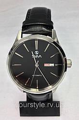 Часы Slava механика ремешок кожаный черный/серебро