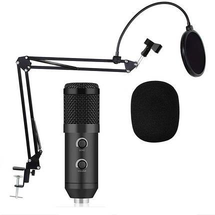 Микрофон студийный конденсаторный Music D.J. M-800U со стойкой и ветрозащитой Black, фото 2
