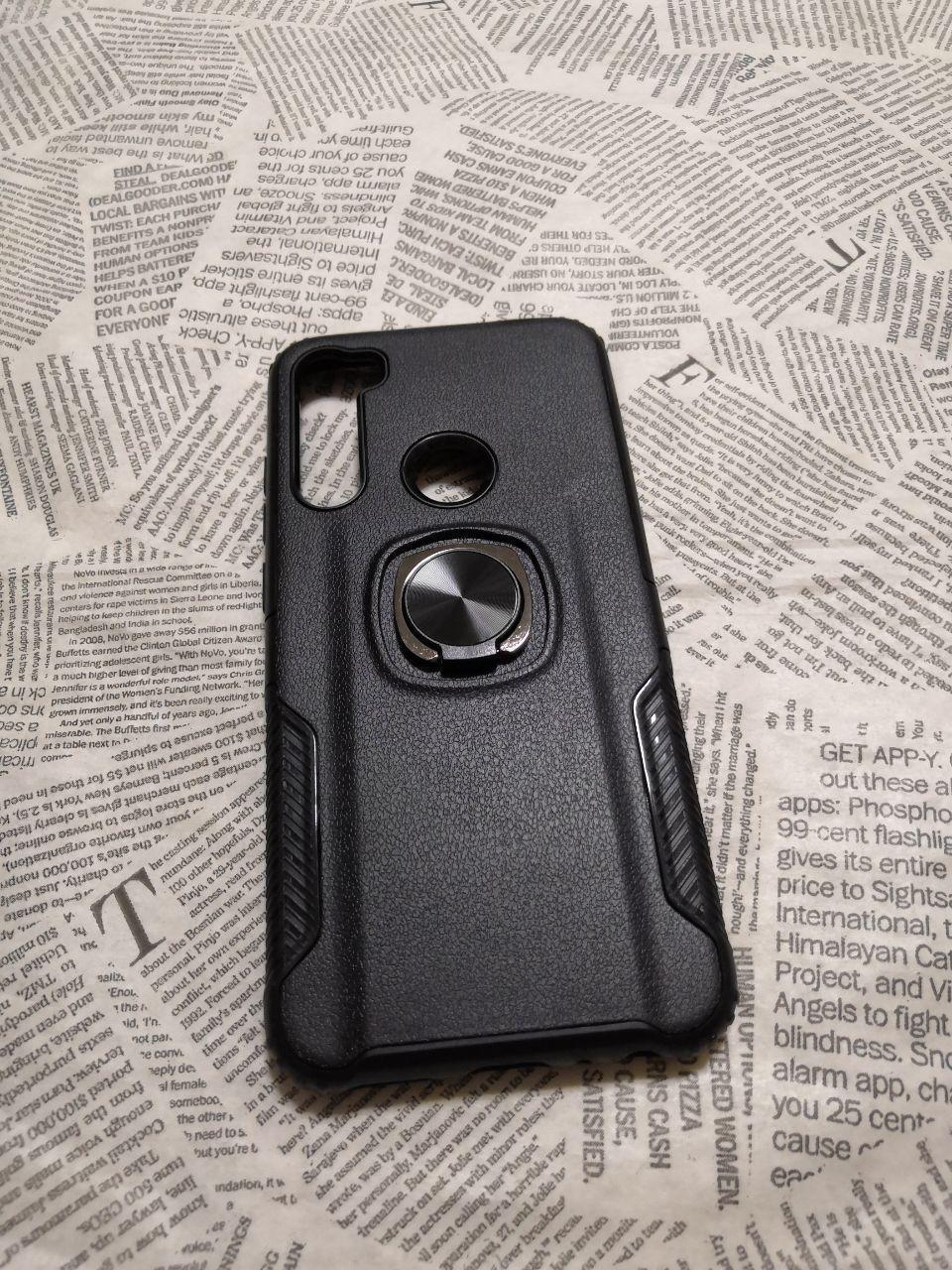Чехол накладка Карбон Leather с кольцом для Xiaomi (Ксиоми) Redmi Note 8