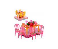 """Мебель для кукол """"Столовая"""", стол, 4 стула, посуда, фрукты, 967"""
