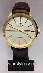 Часы Slava механика ремешок кожаний коричневый/золото