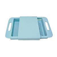Разделочная доска на мойку, пластиковая, для нарезки овощей, цвет - голубой
