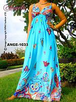 Платье летнее, сарафан светло-голубое, M,L. длина 137 см.