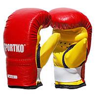 Боксерские перчатки SPORTKO арт. ПД2-4-OZ (унций) красный