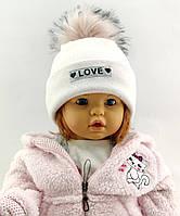 Оптом шапка детская с 48 по 52 размер ангора помпоном шапки головные уборы детские опт, фото 1