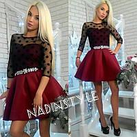 Женское красивое платье с пышной юбкой из неопрена,верх турецкая стрейч сетка бархатный горох р. S-M
