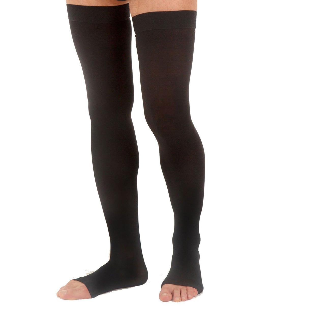 Чулки для мужчин Venoflex Elegence (20-36 мм.рт.ст.) удлиненные с открытым носком, цвет черный, размер 1