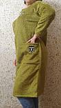 Пальто - кардиган болотного кольору, фото 4
