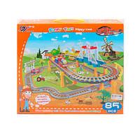 Железная дорога, локомотив, 2 вагона, машинка, музыка, свет, 85 деталей, 339-11