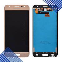 Дисплей для Samsung J330 Galaxy J3 (2017) с тачскрином в сборе, цвет золотой, оригинал Change Glass