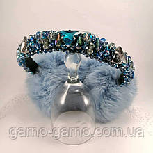 Зимние Меховые наушники Голубые с хрустальными бусинами  хамелеон Корона  стиль Дольче  Габбана