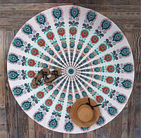 Коврик для пикника Павлиньи Цветы белый, 150 х 150 см.