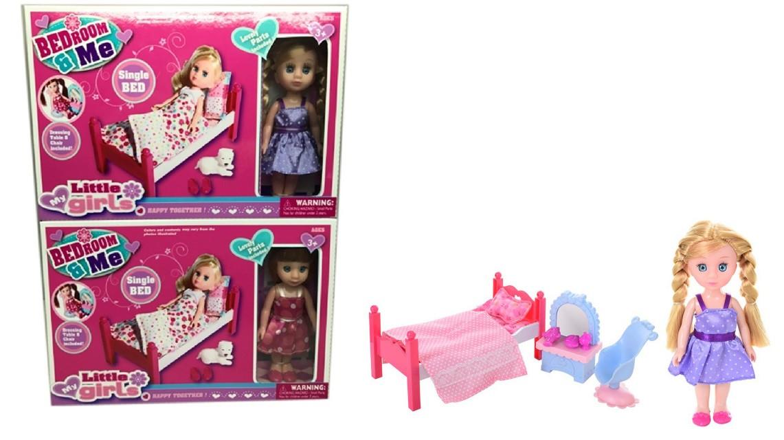 Кукла маленькая 2 вида,кроватка,питомец,аксесс,в кор.26,5*5,5*18см /48-2/