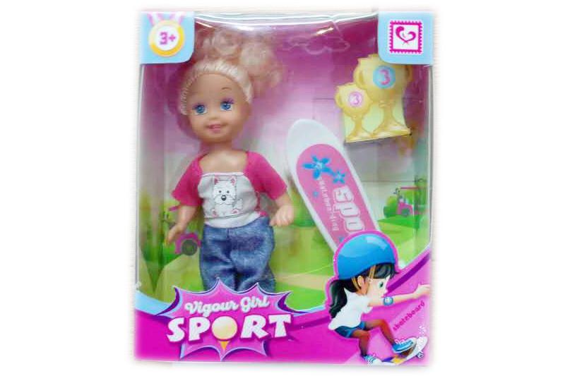 Кукла маленькая со скейтбордом, в кор.12,5*4,5*15см /192-2/