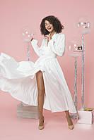 Нарядное белое шелковое платье до косточки на длинный рукав (XS, S, M, L)