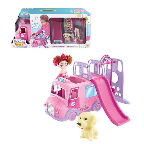 Набор игровой, кукла, машинка, детская площадка, собачка, музыка, свет, 71022-22
