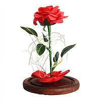 Консервированная бессмертная красная роза со светом в стекле 20 см
