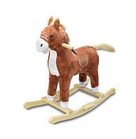 """Музыкальная лошадка качалка детская """"Поющий ковбойский конь"""", Плюшевый, Коричневый, коник качалка"""