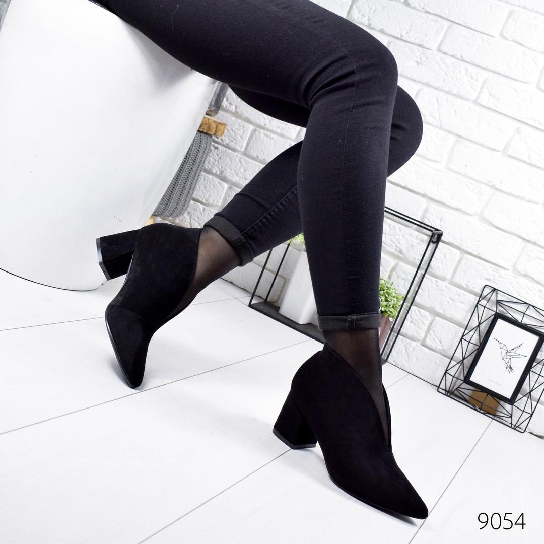 Женские туфли ботильоны на удобном невысоком каблуке замшевые черные