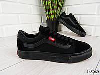 """Кеды, кроссовки, мокасины черные в стиле """"Vans"""" эко замша, повседневная, удобная, весенняя, мужская обувь"""