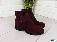 """Ботинки, ботильоны, бордовые """"Ellari"""" НАТУРАЛЬНАЯ ЗАМША, демисезонная, качественная,повседневная женская обувь"""