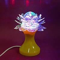 Настольный светодиодный светильник, Лотос, RHD-21, Желтый, детский 3Д ночник в розетку, вращающийся
