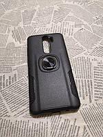 Чехол накладка Карбон Leather с кольцом для Xiaomi (Ксиоми) Redmi Note 8 Pro (с кольцом-подставкой)