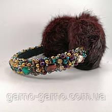 Зимние Меховые наушники винные марсала  с хрустальными бусинами  мультицвет Корона  стиль Дольче  Габбана