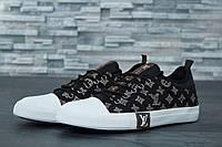 Кеды мужские в стиле Louis Vuitton код товара DD-61005. Черные с белым