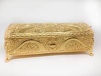 Декоративная шкатулка MCA Vizyon из мельхиора с позолотой прямоугольная, фото 1