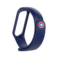 Ремешок для Xiaomi Mi Band 3/4 Captain America Тёмно-синий
