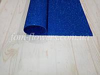 Глиттерный фоамиран, двухсторонний 50х50 см, синий.