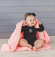 Рожевий в'язаний теплий плед для малюків