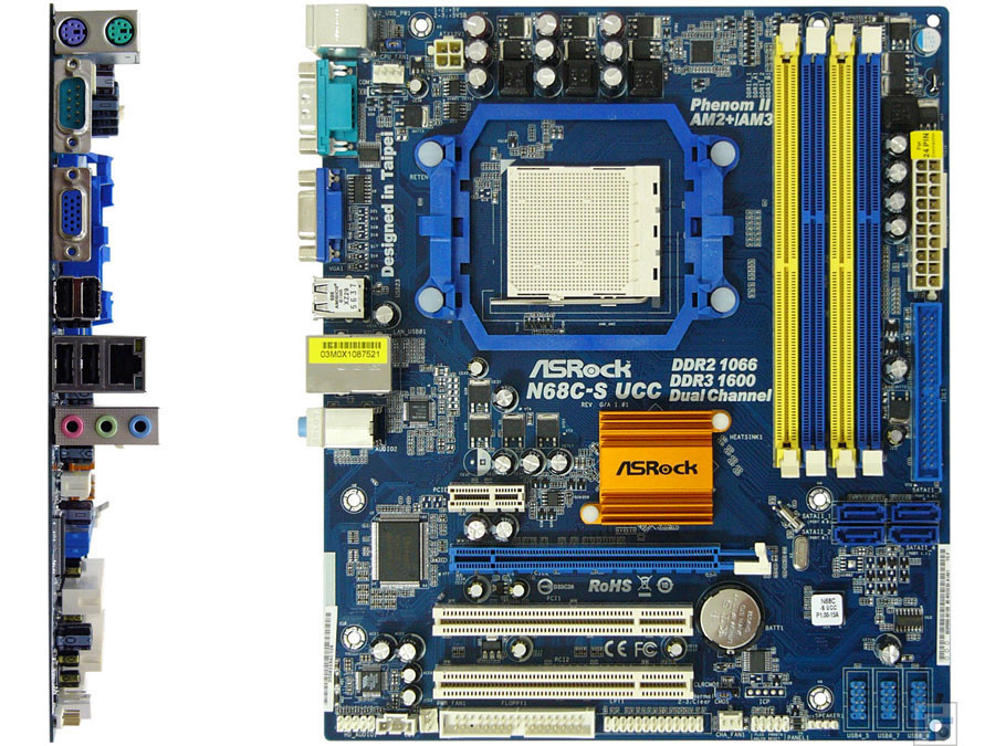 Плата MD sAM3 Am2+ ASRock N68C-S UCC УЦЕНКА- поврежден 1USB ! на DDR3 и DDR2 Поним 2-6ЯДЕРНИКИ до PHENOM II X6