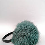 Хутряні навушники Зимові кролик Темний М'ятний колір, фото 3