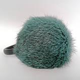 Хутряні навушники Зимові кролик Темний М'ятний колір, фото 2