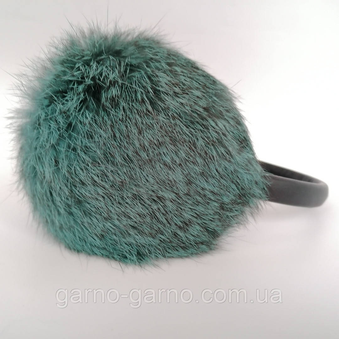 Хутряні навушники Зимові кролик Темний М'ятний колір