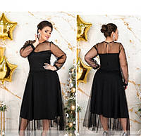 / Размер 48,50,52,54,56 / Женское вечернее платье большого размера 182Б-Черный
