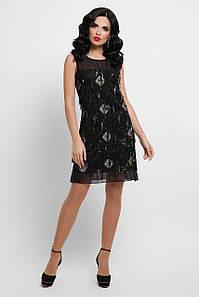 Вечернее черное женское платье-мини в пайетках