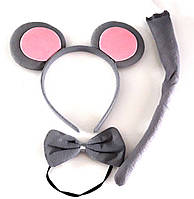 Набор мышка (ушки, бабочка, хвостик) серый