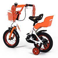 Велосипед детский 2-х двухколесный 12 дюймов с дополнительными колесами CORSO белый с оранжевым от 3-4 лет
