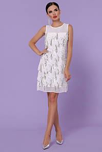 Вечернее женское платье-мини в пайетках