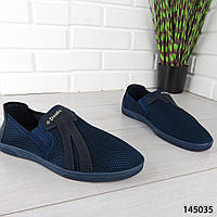 """Мокасины мужские, синие """"Banche"""" текстильные, туфли мужские, повседневная, удобная, весенняя, мужская обувь"""