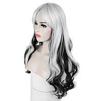 Длинные парики - 61 см, черно-белые волнистые волосы, косплей, анимэ