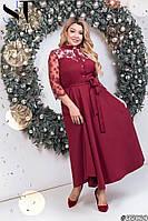 Длинное вечернее платье из костюмки, гипюра + подкладочная ткань, воротник стойка, есть пояс (50-54), фото 1